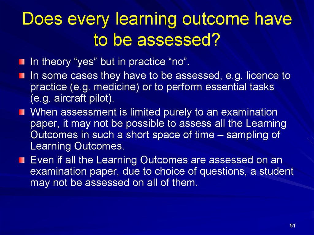 Does every learning outcome have to be assessed?