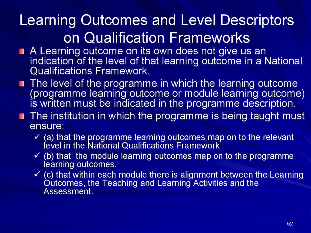 Learning Outcomes and Level Descriptors on Qualification Frameworks