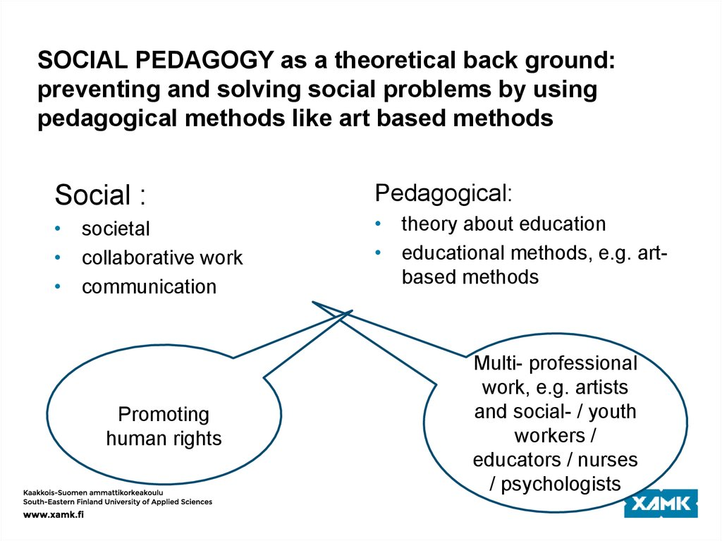 SOCIAL PEDAGOGY as a theoretical back ground: preventing and solving social problems by using pedagogical methods like art
