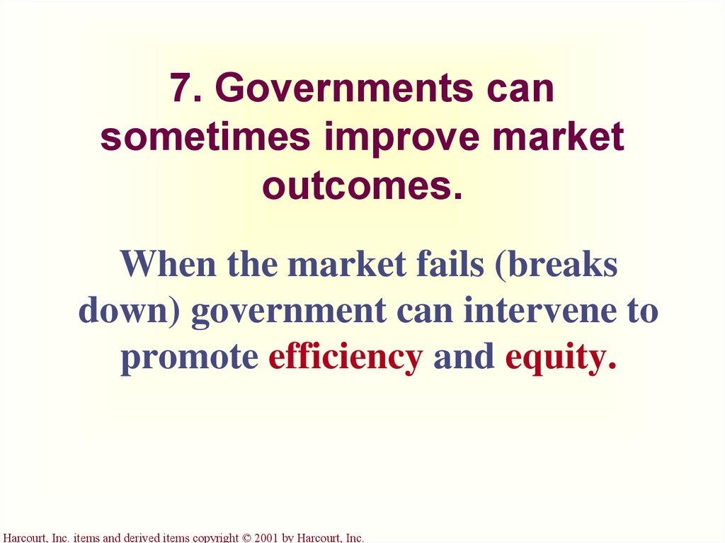 7. Governments can sometimes improve market outcomes.