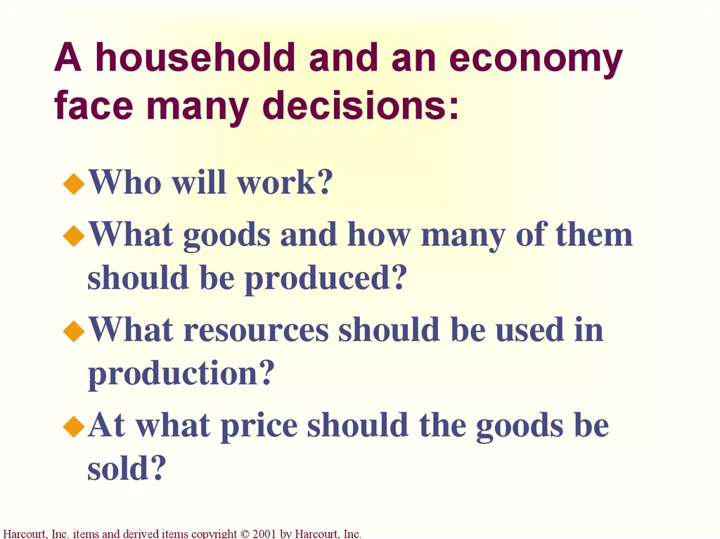 A household and an economy face many decisions: