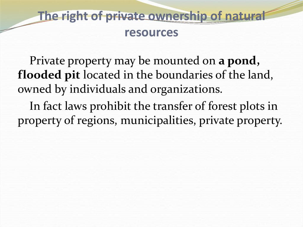 The right of private ownership of natural resources