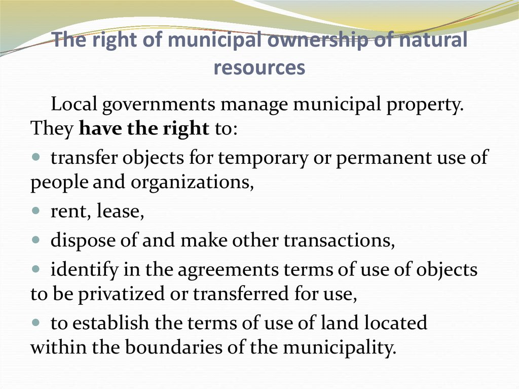 The right of municipal ownership of natural resources