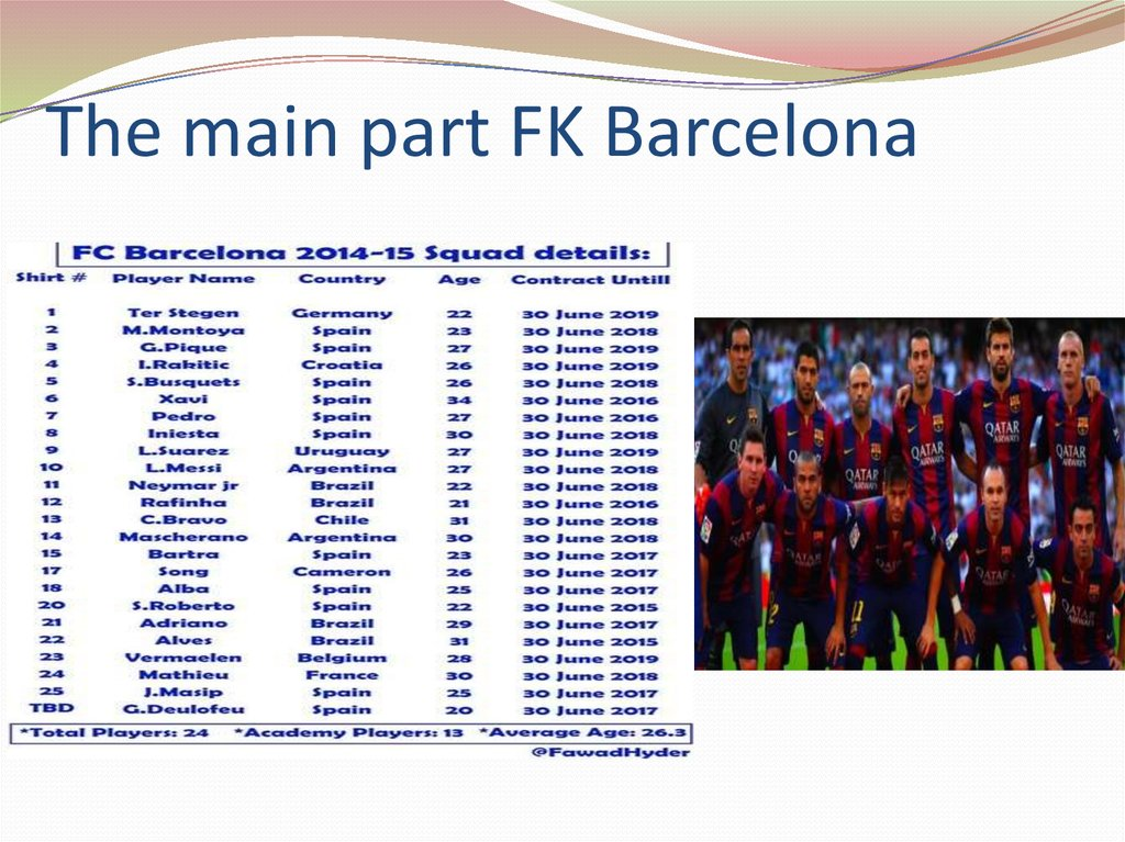 The main part FK Barcelona