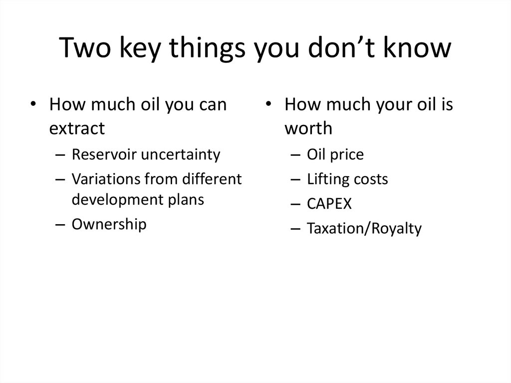 Value of your Oil