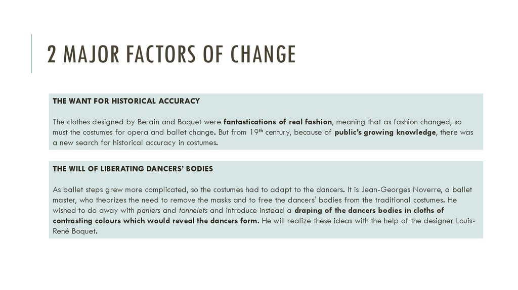 2 major factors of change