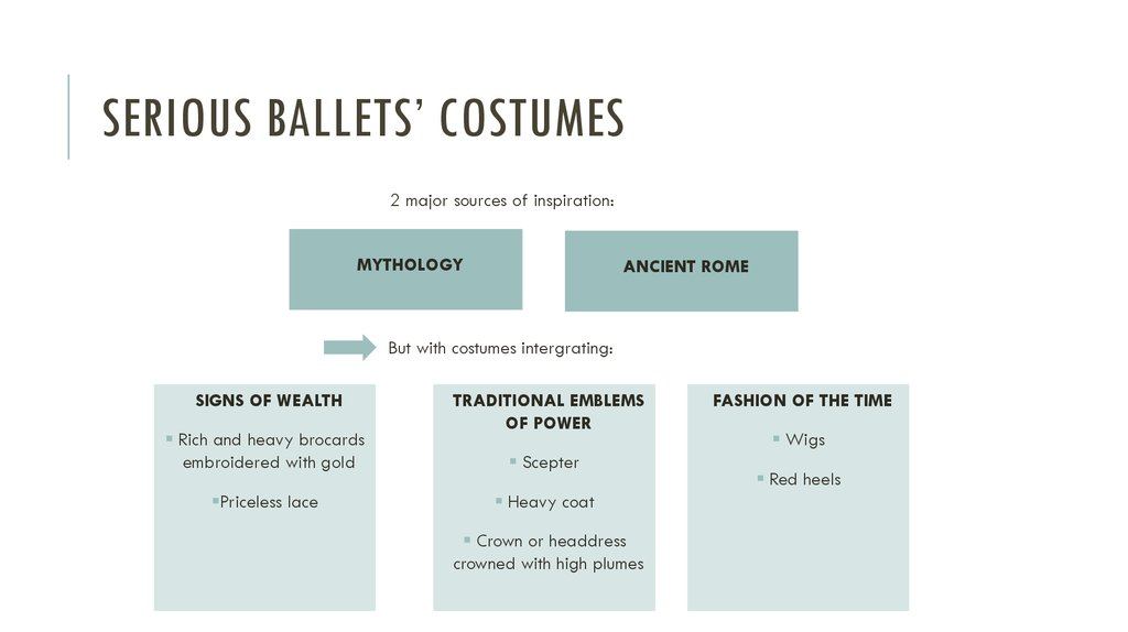 Serious ballets' costumes
