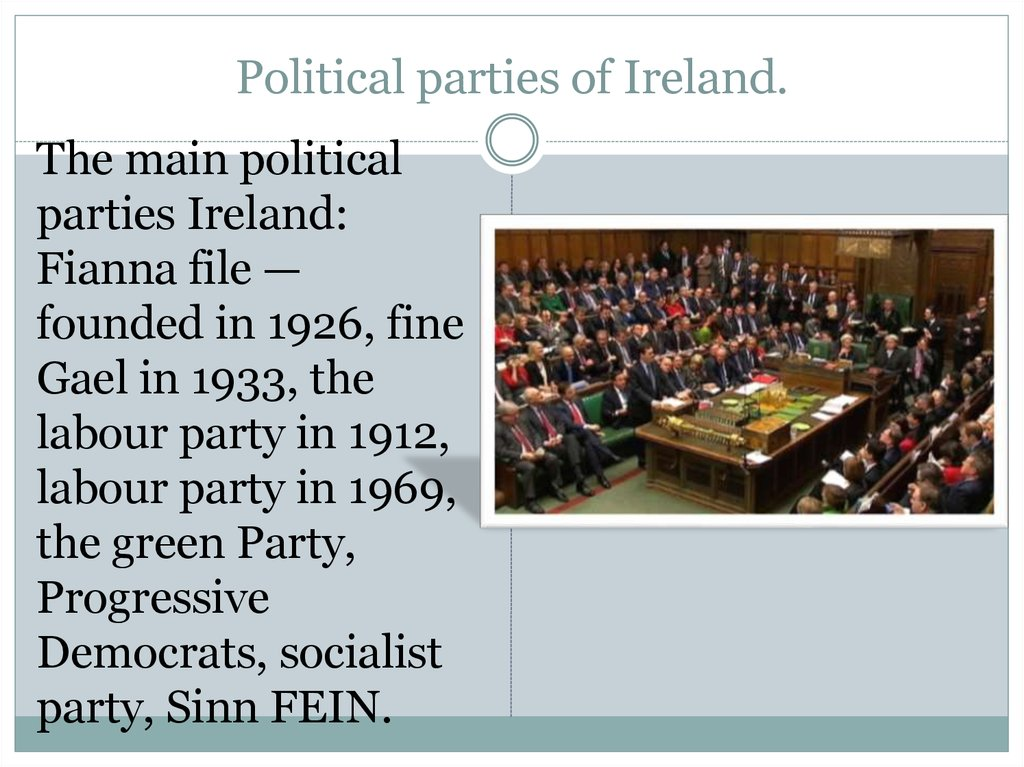 Political parties of Ireland.