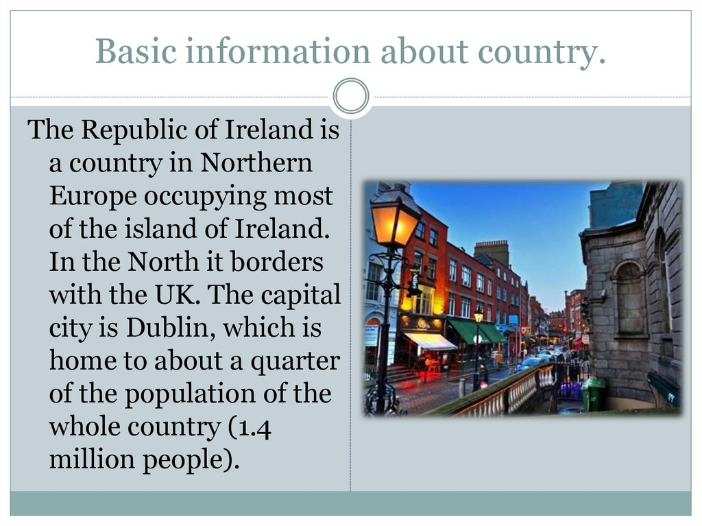 Basic information about country.