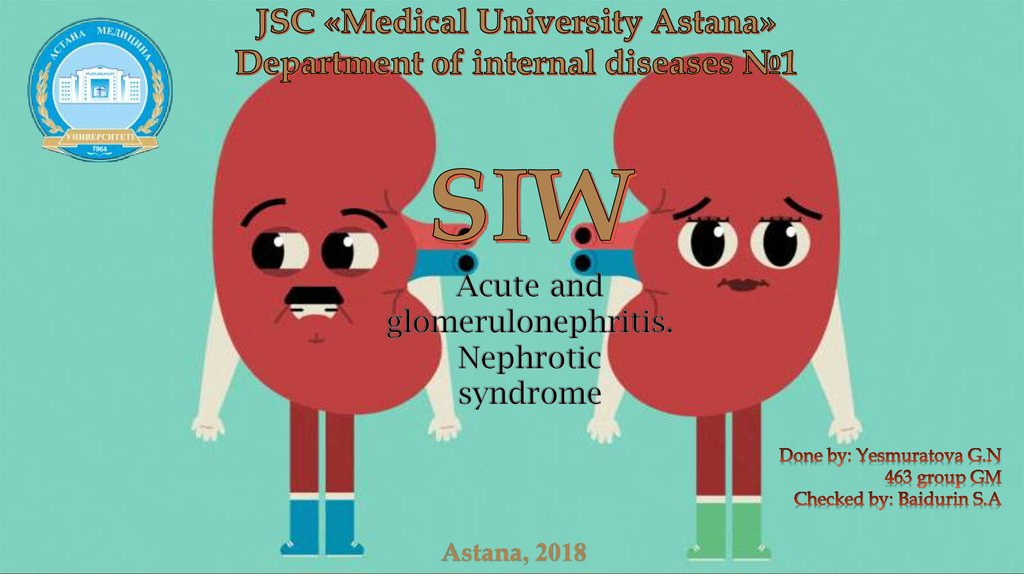 SIW Acute and glomerulonephritis. Nephrotic syndrome