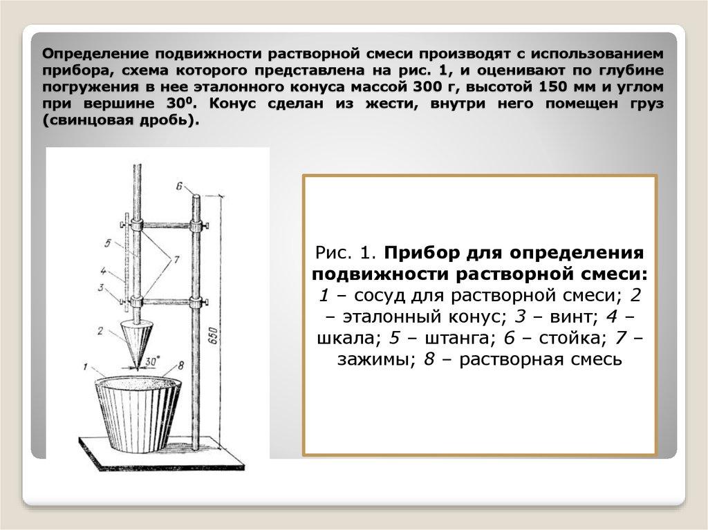 Приборы определения качества строительных растворов марки и виды бетонов