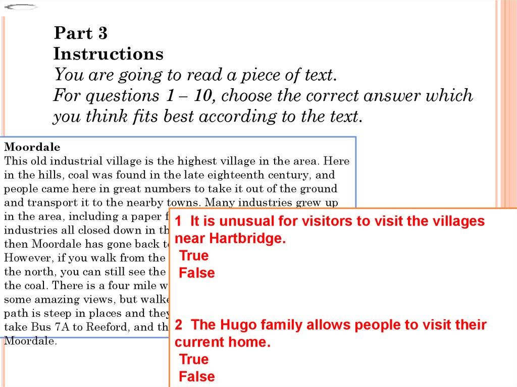 Cambridge Preliminary English Test Reading Online Presentation
