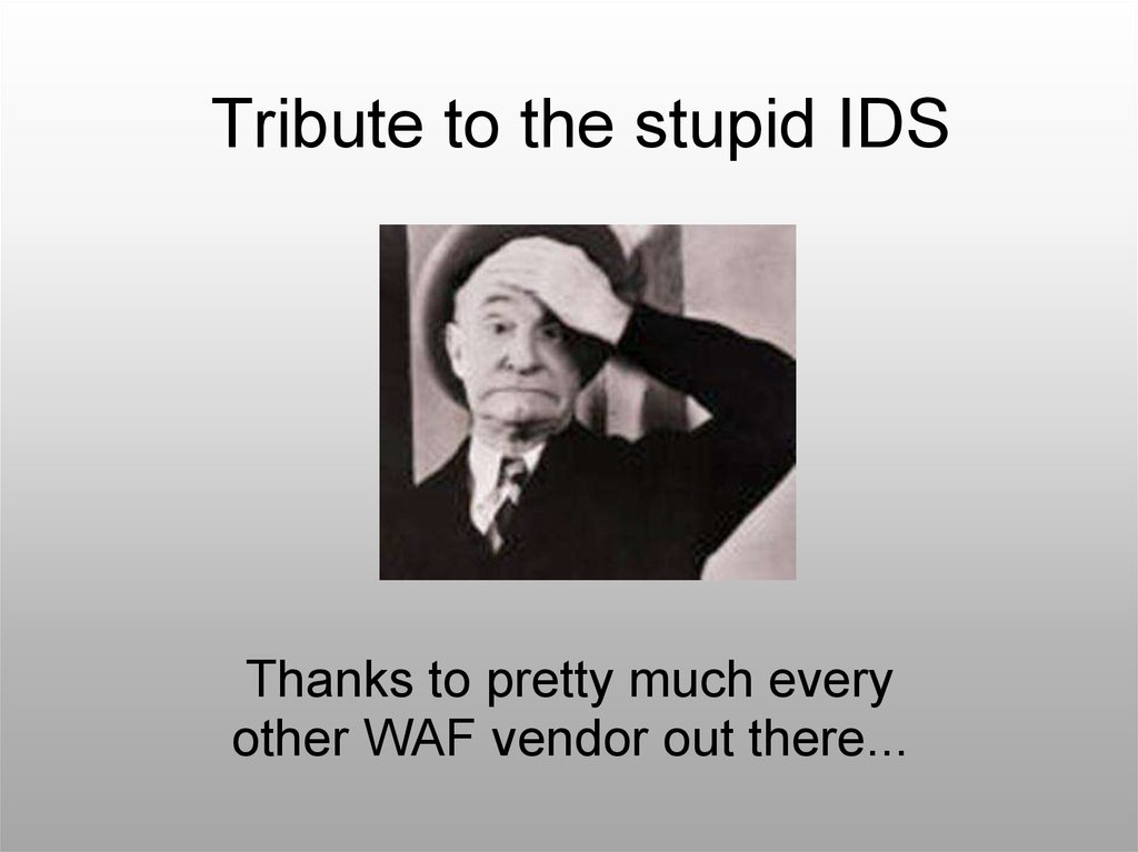 Tribute to the stupid IDS