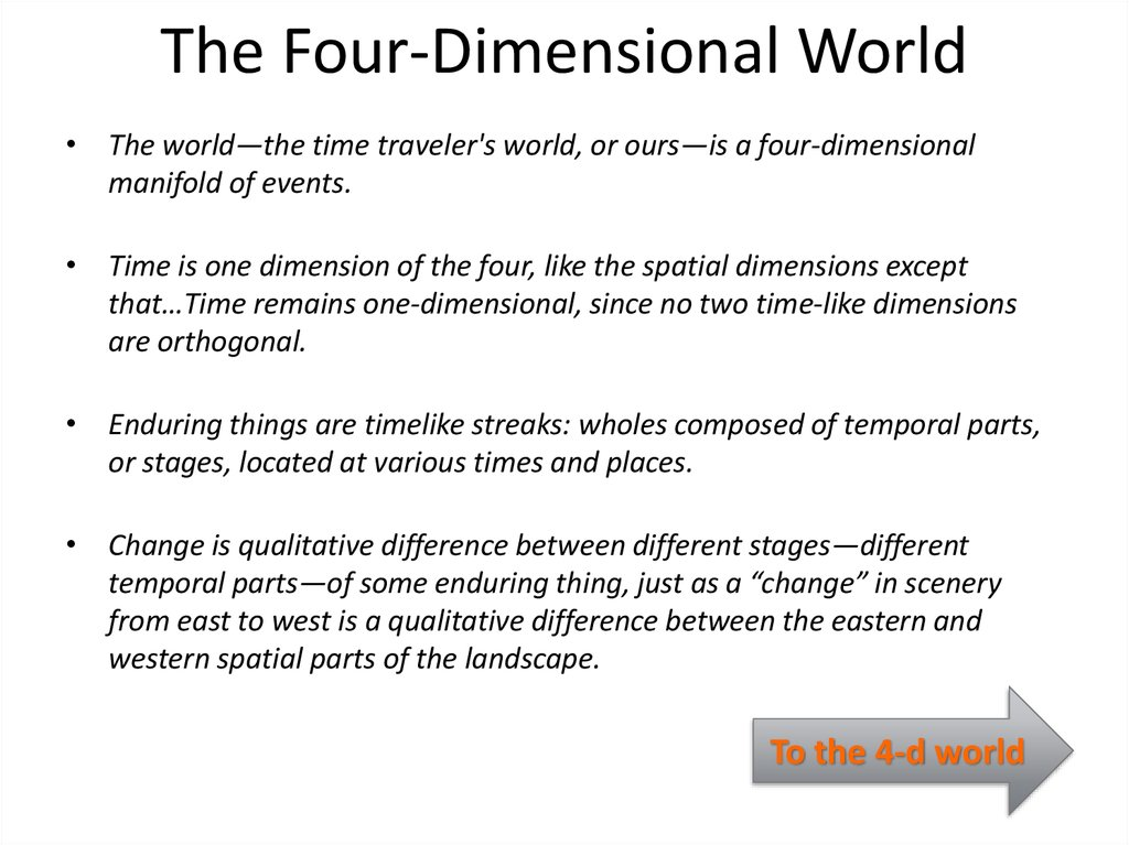 The Four-Dimensional World