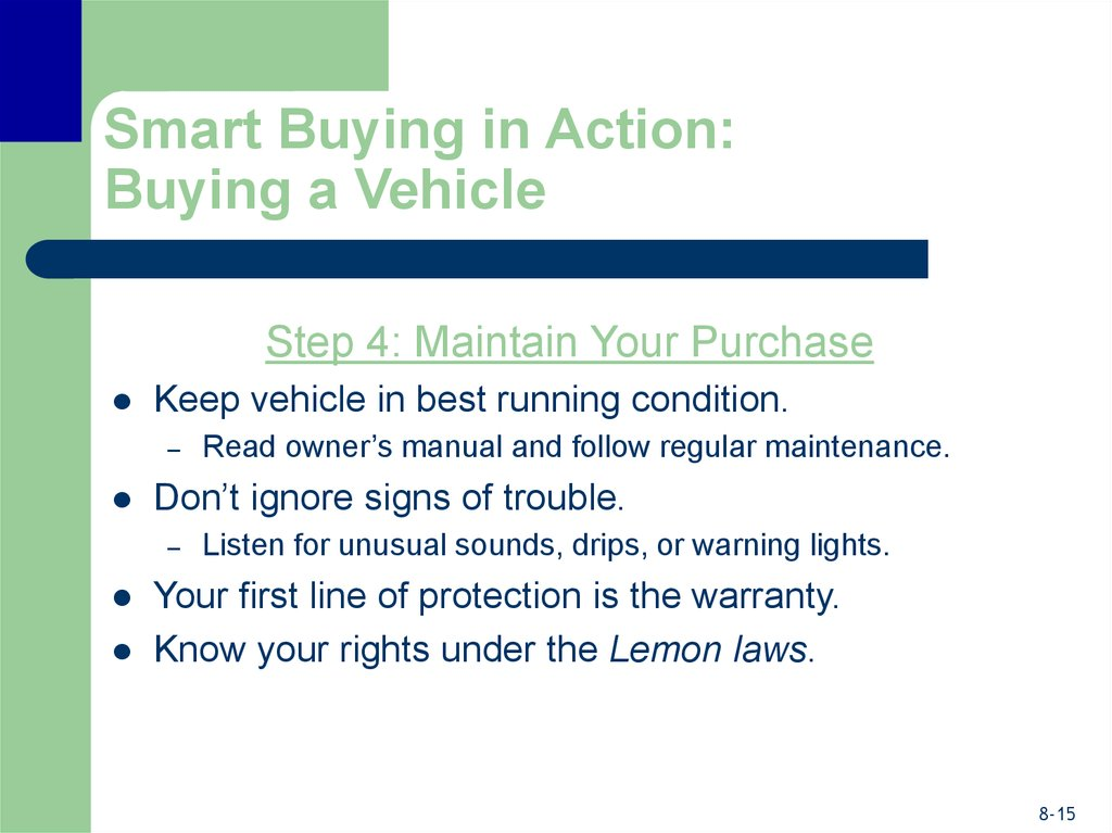 Smart Buying in Action: Buying a Vehicle