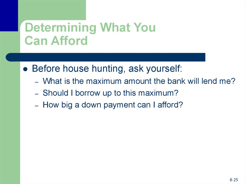 Determining What You Can Afford