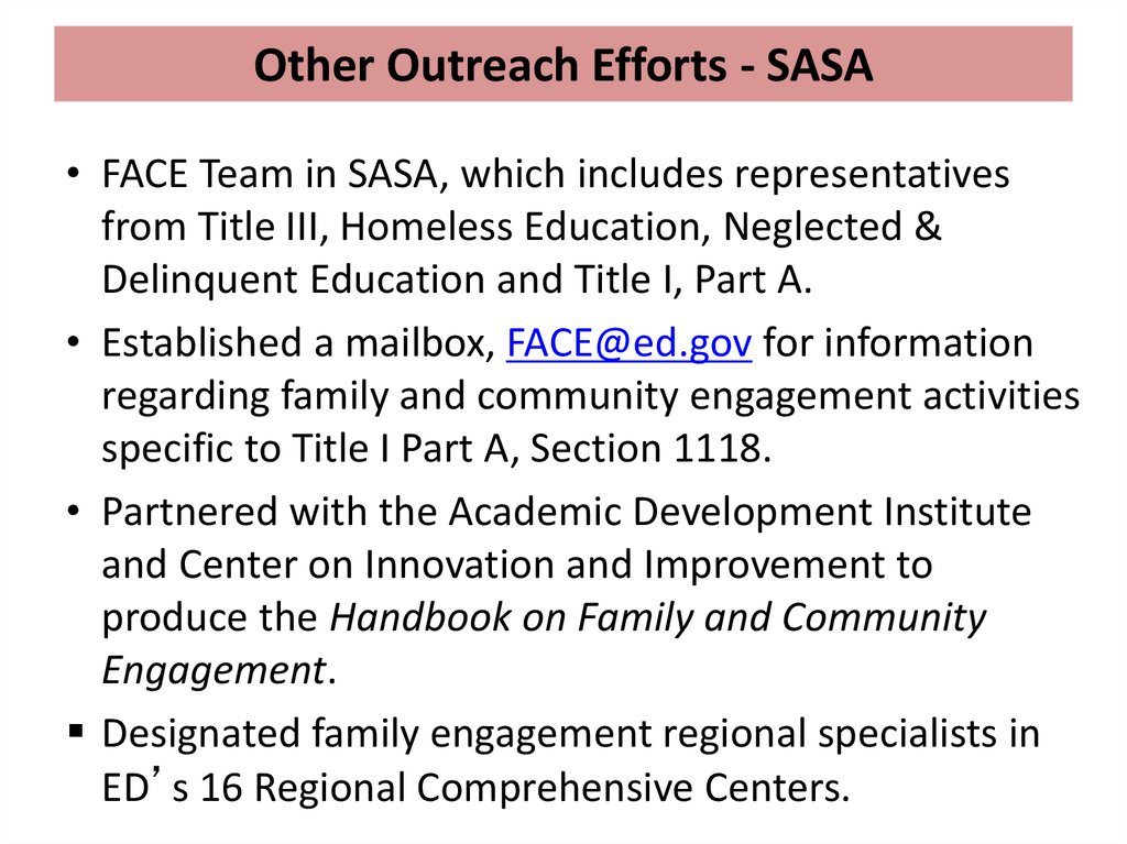 Other Outreach Efforts - SASA