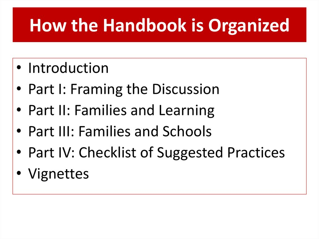 How the Handbook is Organized