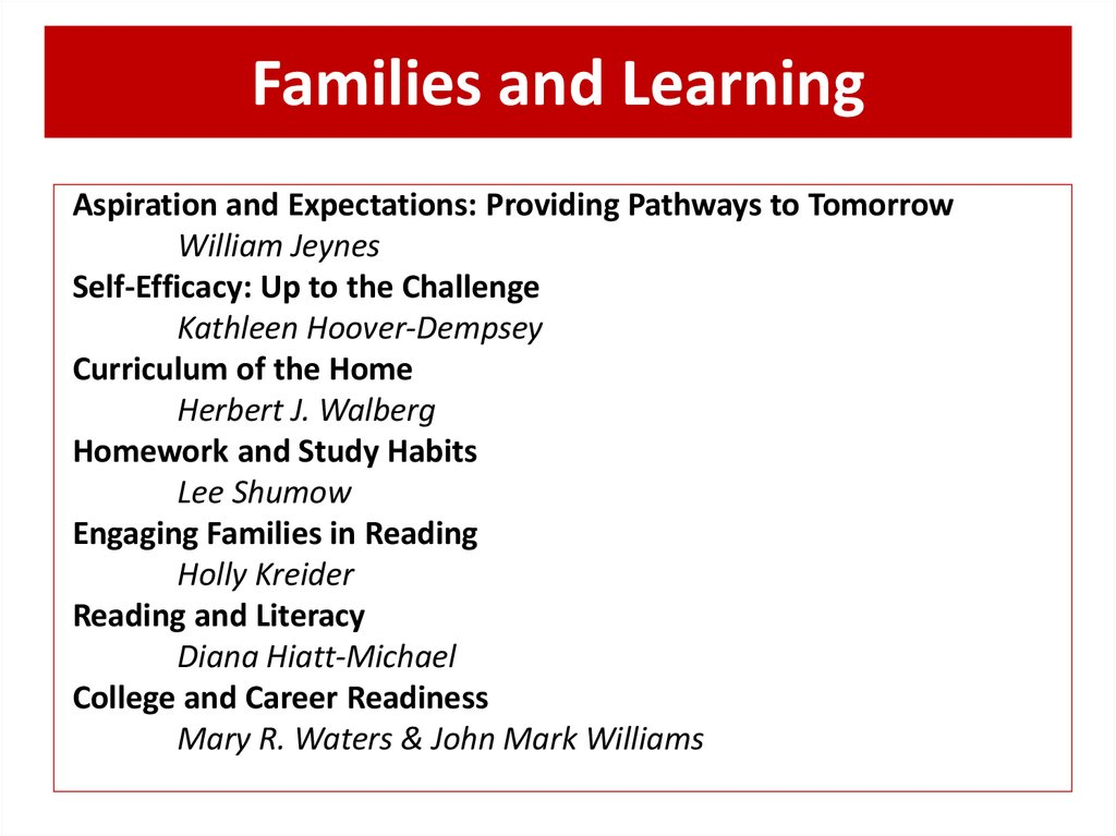 Families and Learning