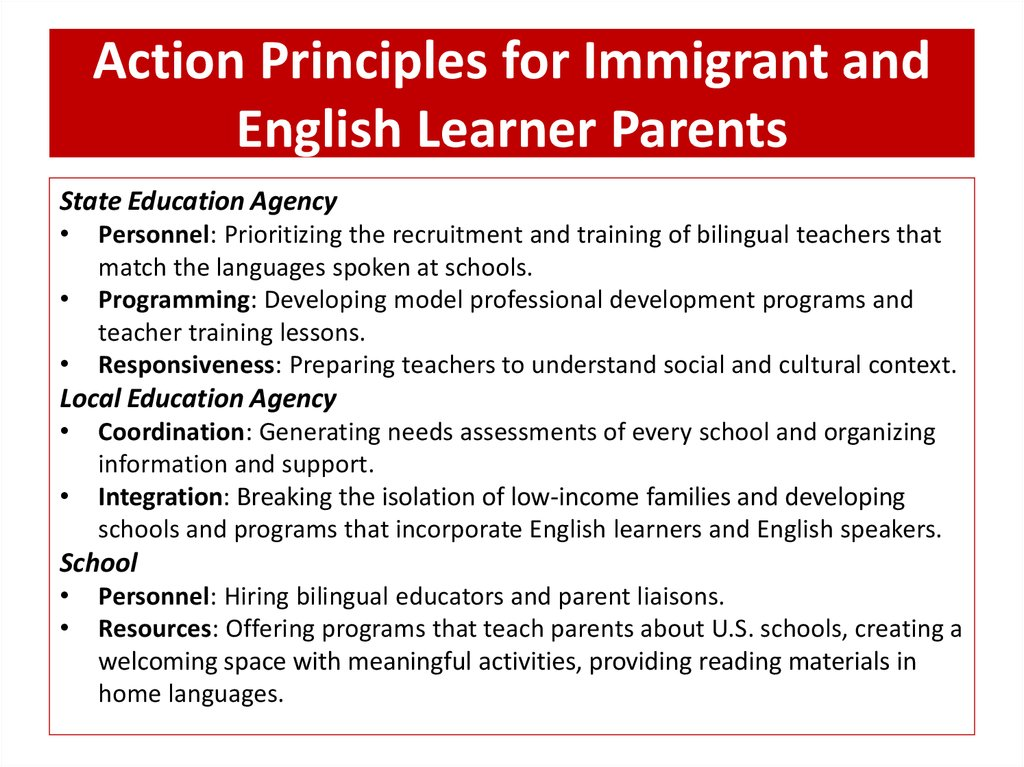 Action Principles for Immigrant and English Learner Parents