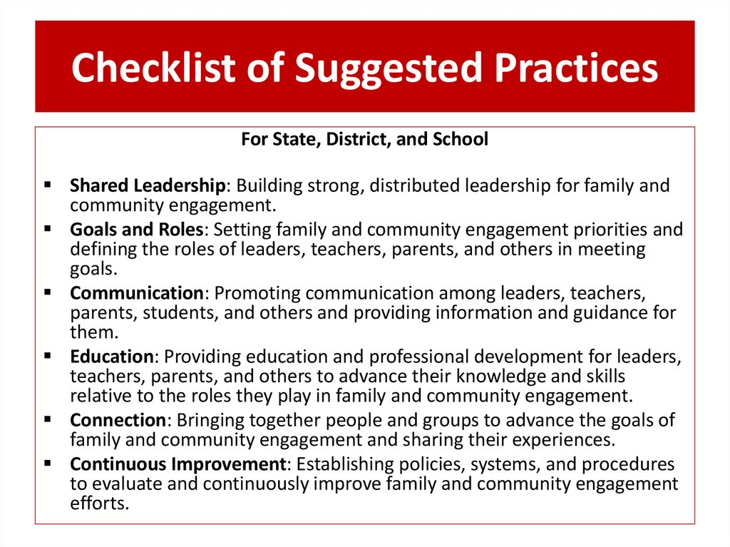 Checklist of Suggested Practices