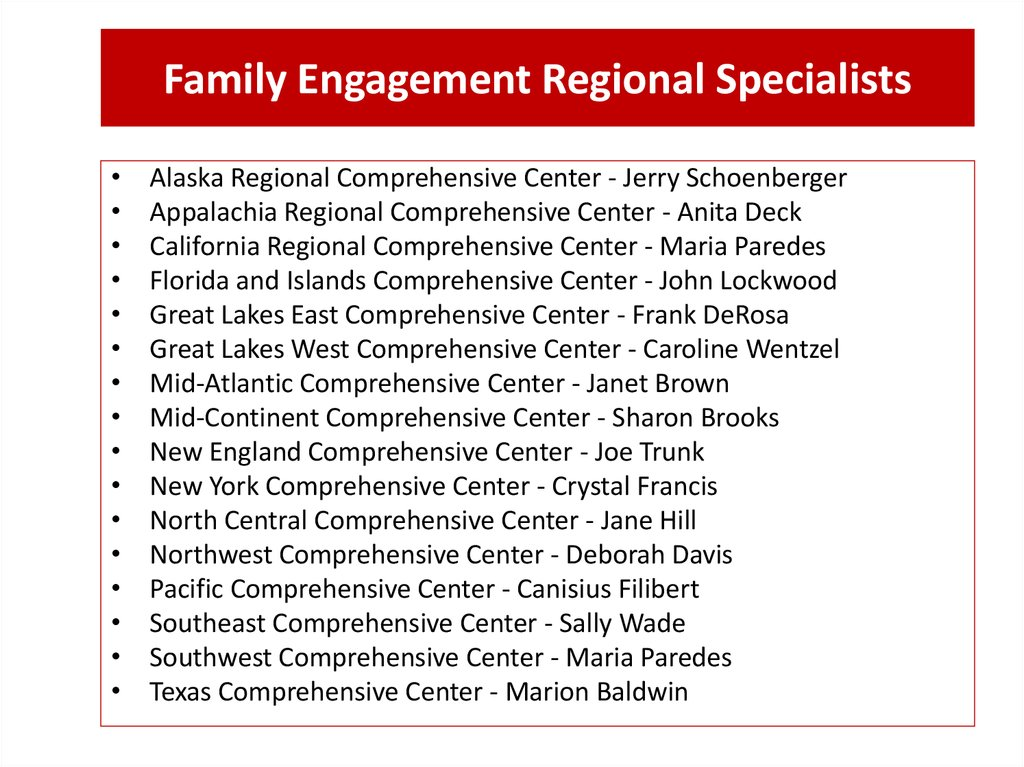 Family Engagement Regional Specialists