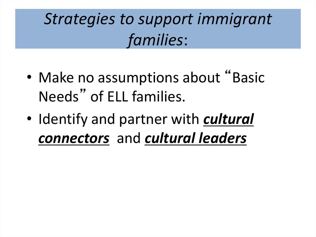 Strategies to support immigrant families: