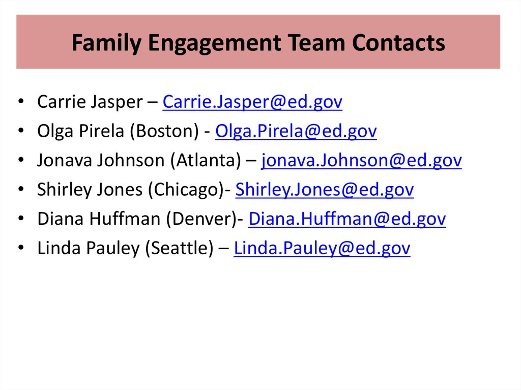 Family Engagement Team Contacts