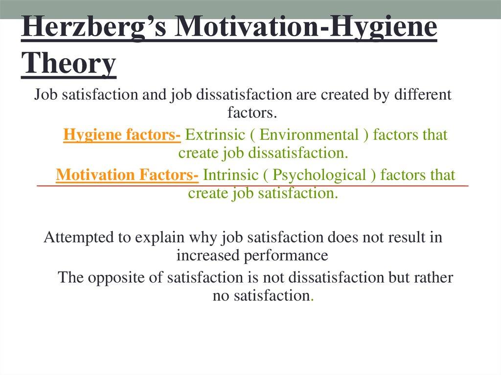 job satisfaction and dissatisfaction