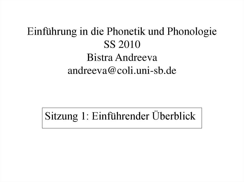 Einführung in die phonetik und phonologie - online presentation