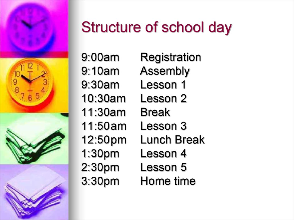 Structure of school day