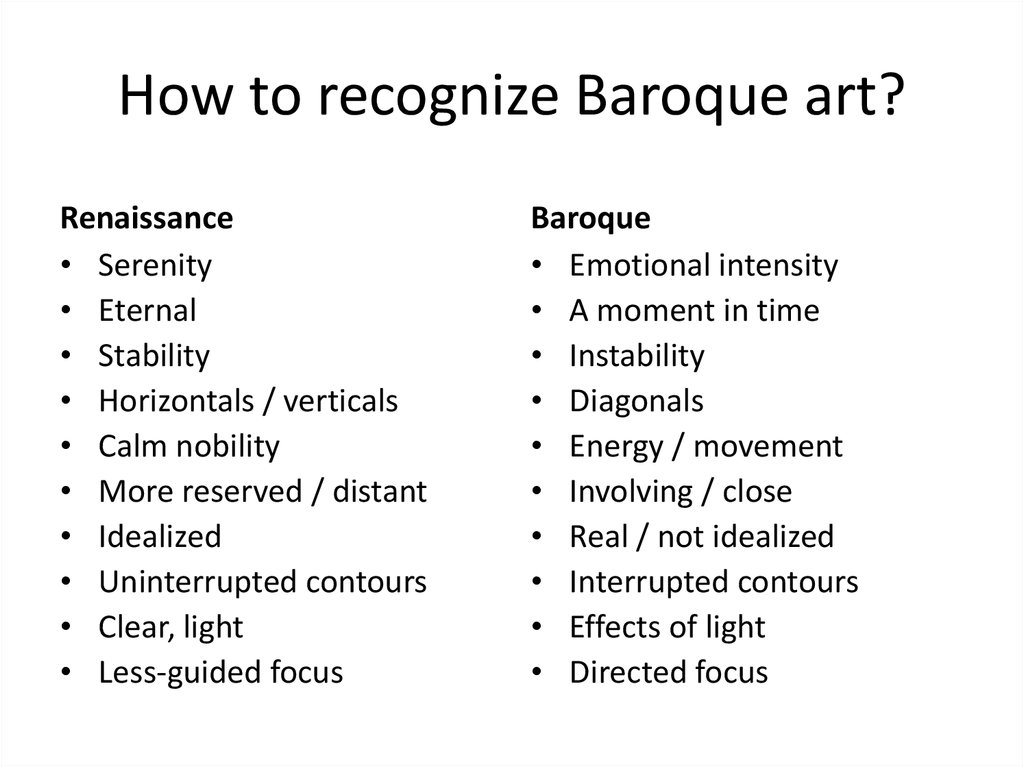 How to recognize Baroque art?