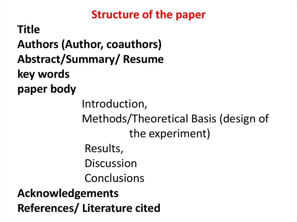 structure of research papers zoology related
