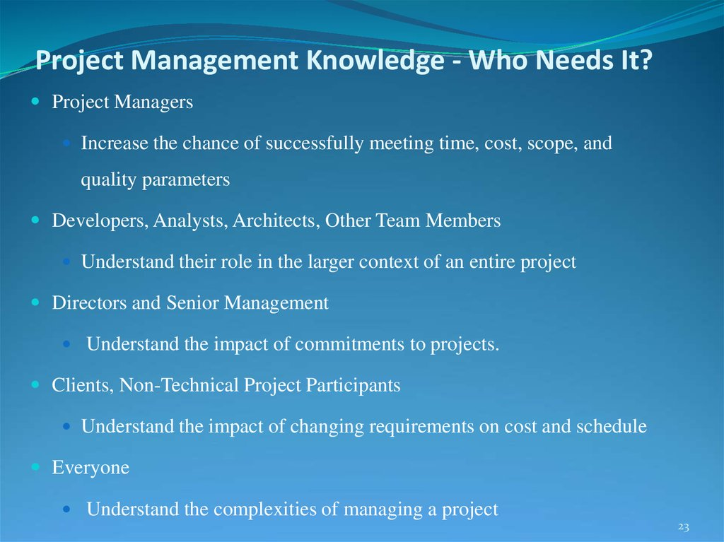 Project Management Knowledge - Who Needs It?