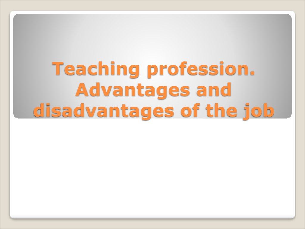Teaching profession - online presentation