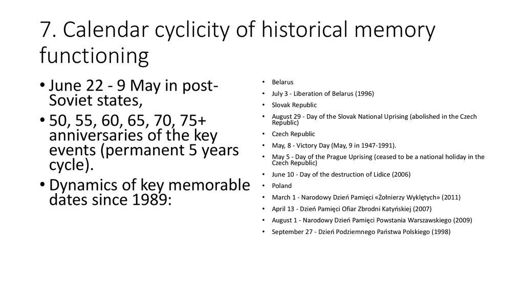 7. Calendar cyclicity of historical memory functioning