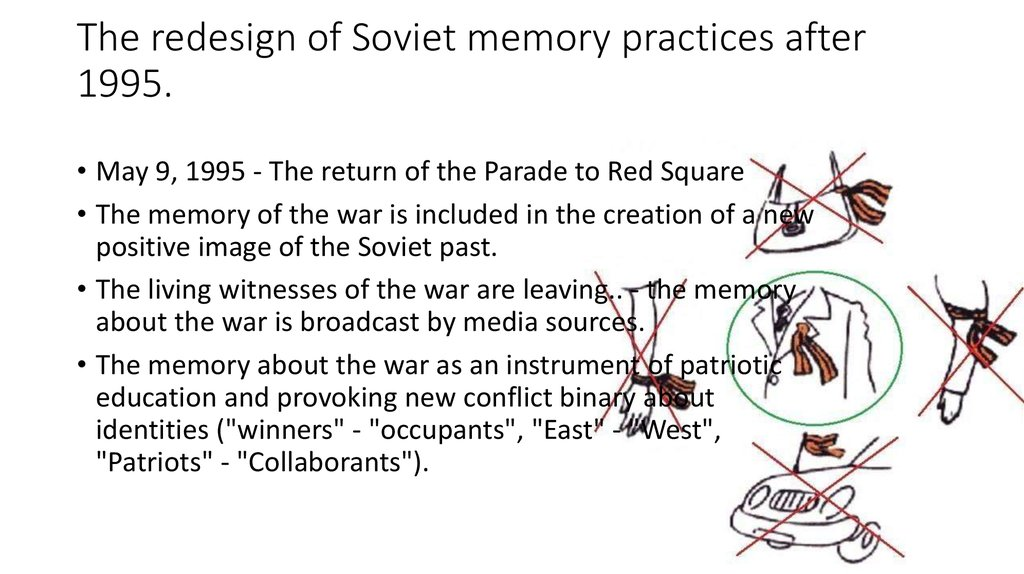 The redesign of Soviet memory practices after 1995.