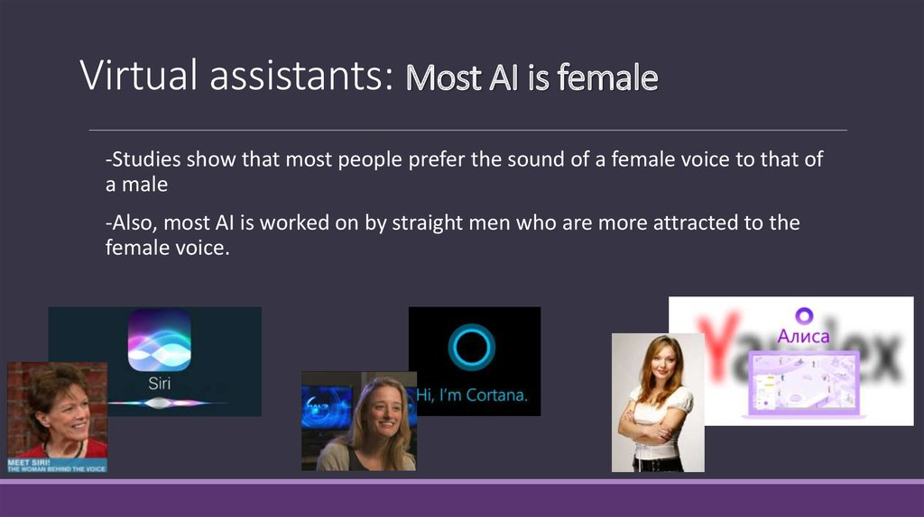 Virtual assistants: Most AI is female