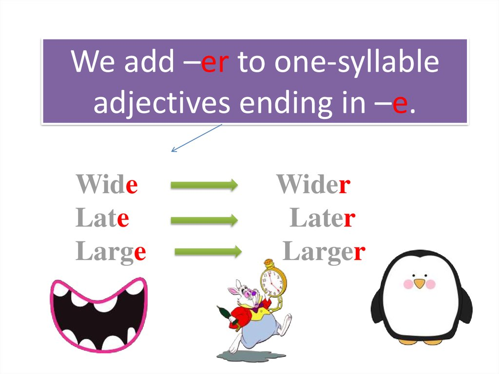 We add –er to one-syllable adjectives ending in –e.