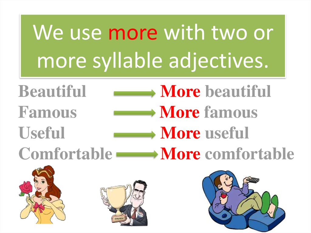 We use more with two or more syllable adjectives.