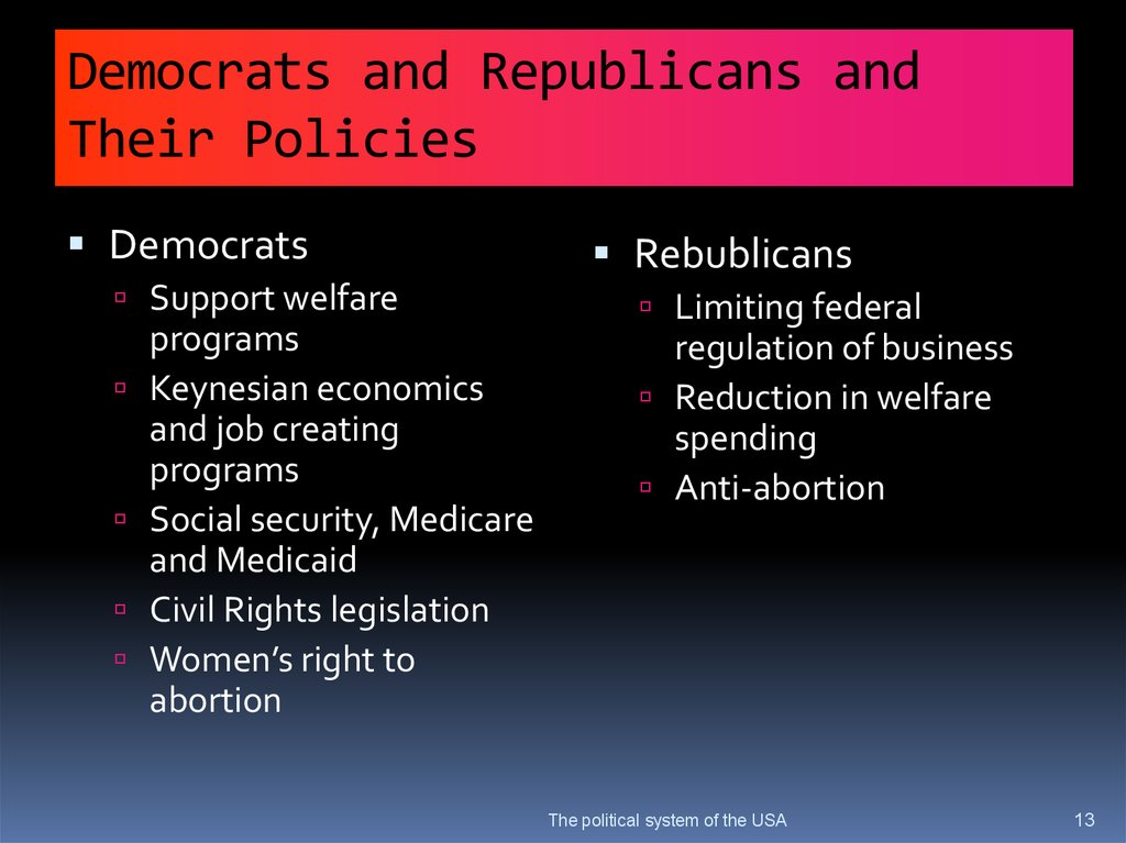 Democrats and Republicans and Their Policies