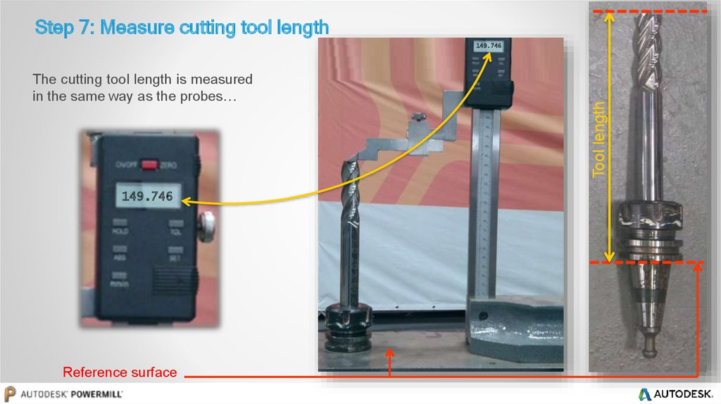 Step 7: Measure cutting tool length