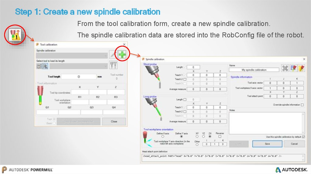 Step 1: Create a new spindle calibration