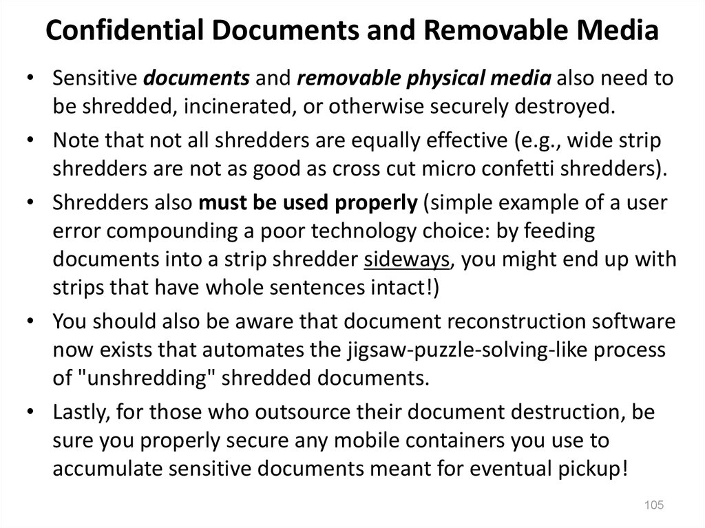 Confidential Documents and Removable Media