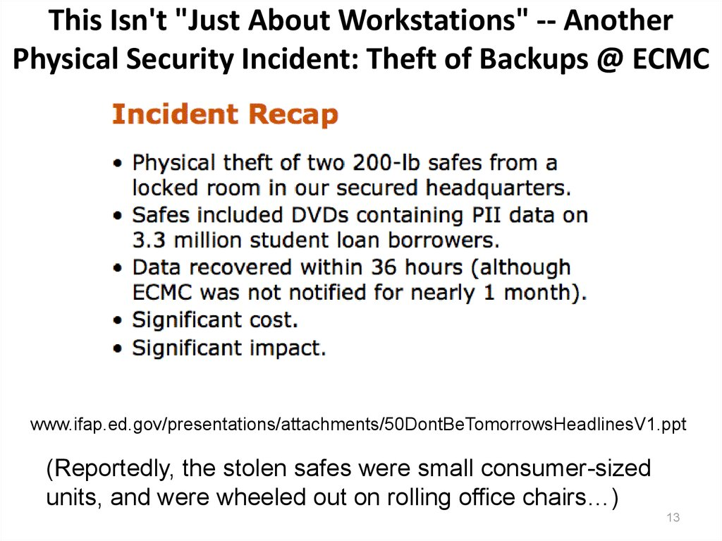"This Isn't ""Just About Workstations"" -- Another Physical Security Incident: Theft of Backups @ ECMC"