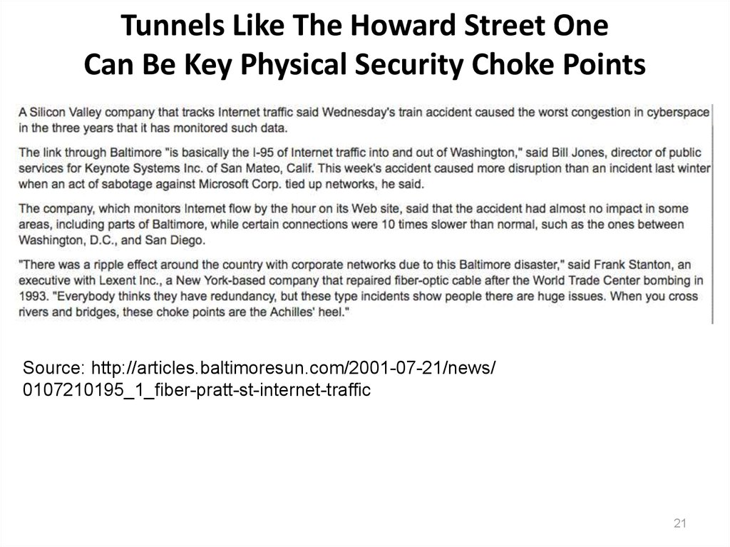 Tunnels Like The Howard Street One Can Be Key Physical Security Choke Points