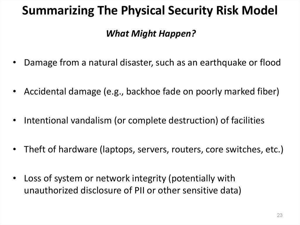 Summarizing The Physical Security Risk Model