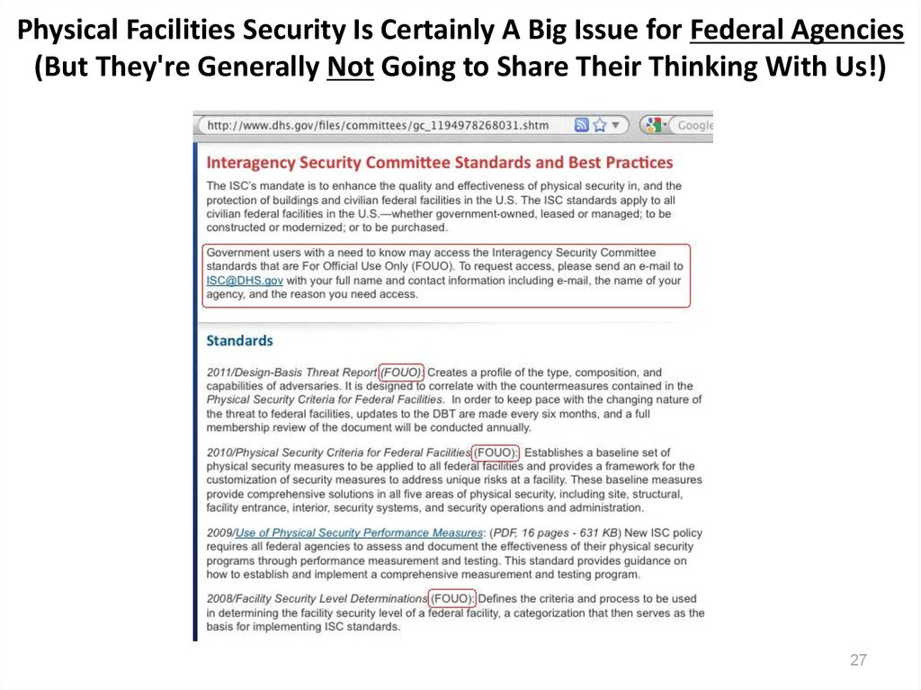 Physical Facilities Security Is Certainly A Big Issue for Federal Agencies (But They're Generally Not Going to Share Their