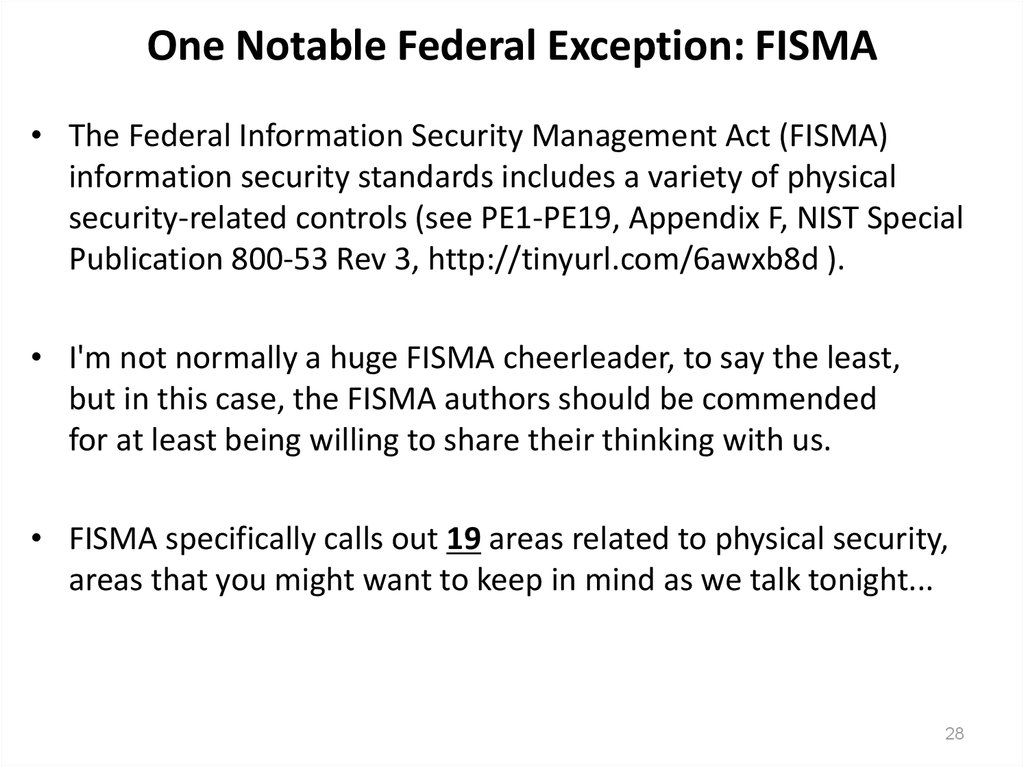 One Notable Federal Exception: FISMA
