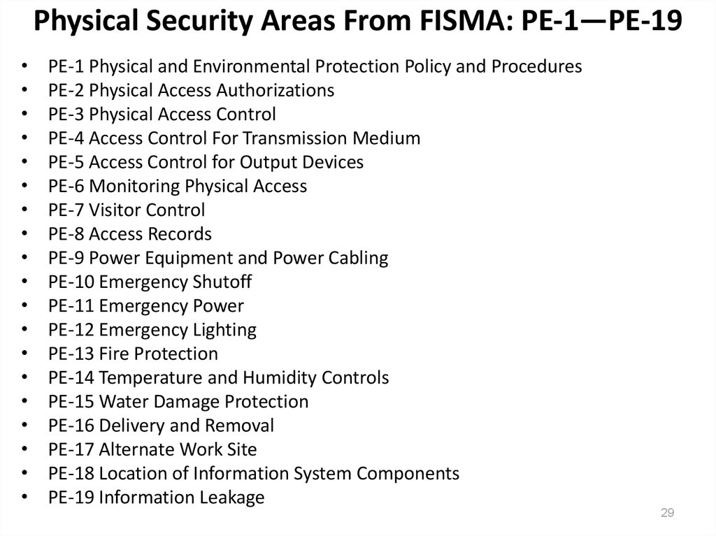 Physical Security Areas From FISMA: PE-1—PE-19